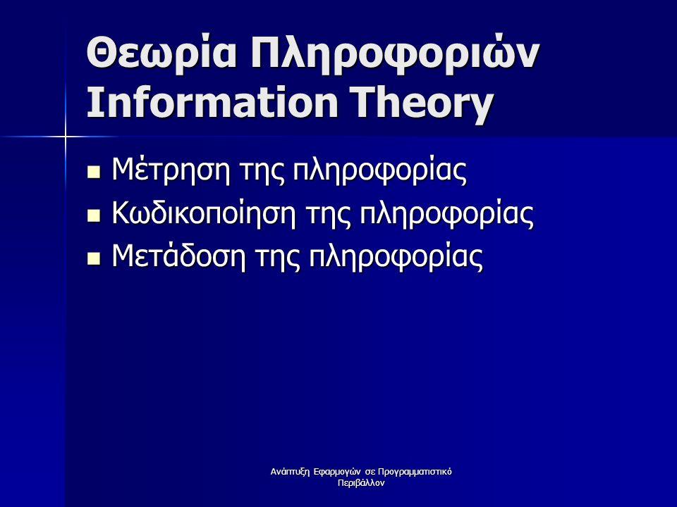 Θεωρία Πληροφοριών Information Theory Μέτρηση της πληροφορίας Μέτρηση της πληροφορίας Κωδικοποίηση της πληροφορίας Κωδικοποίηση της πληροφορίας Μετάδοση της πληροφορίας Μετάδοση της πληροφορίας Ανάπτυξη Εφαρμογών σε Προγραμματιστικό Περιβάλλον