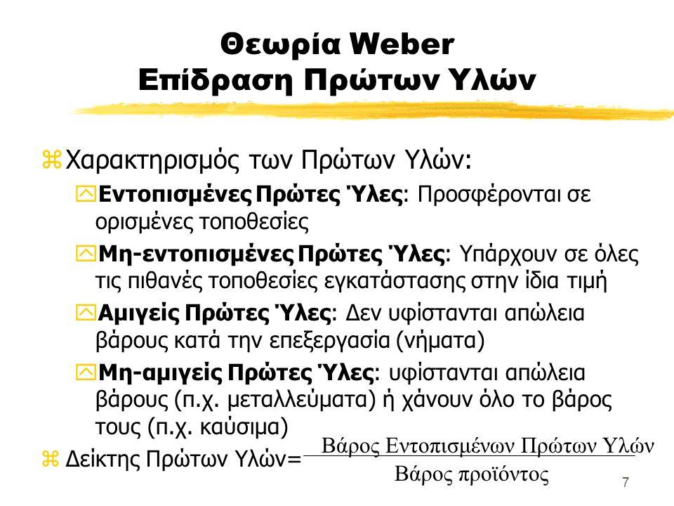 7 Θεωρία Weber Επίδραση Πρώτων Υλών zΧαρακτηρισμός των Πρώτων Υλών: yΕντοπισμένες Πρώτες Ύλες: Προσφέρονται σε ορισμένες τοποθεσίες yΜη-εντοπισμένες Πρώτες Ύλες: Υπάρχουν σε όλες τις πιθανές τοποθεσίες εγκατάστασης στην ίδια τιμή yΑμιγείς Πρώτες Ύλες: Δεν υφίστανται απώλεια βάρους κατά την επεξεργασία (νήματα) yΜη-αμιγείς Πρώτες Ύλες: υφίστανται απώλεια βάρους (π.χ.