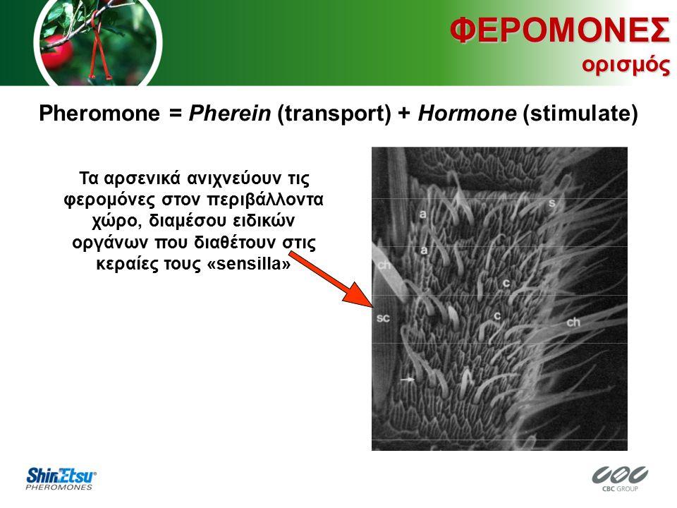 ΦΕΡΟΜΟΝΕΣ ορισμός Pheromone = Pherein (transport) + Hormone (stimulate) Τα αρσενικά ανιχνεύουν τις φερομόνες στον περιβάλλοντα χώρο, διαμέσου ειδικών οργάνων που διαθέτουν στις κεραίες τους «sensilla»
