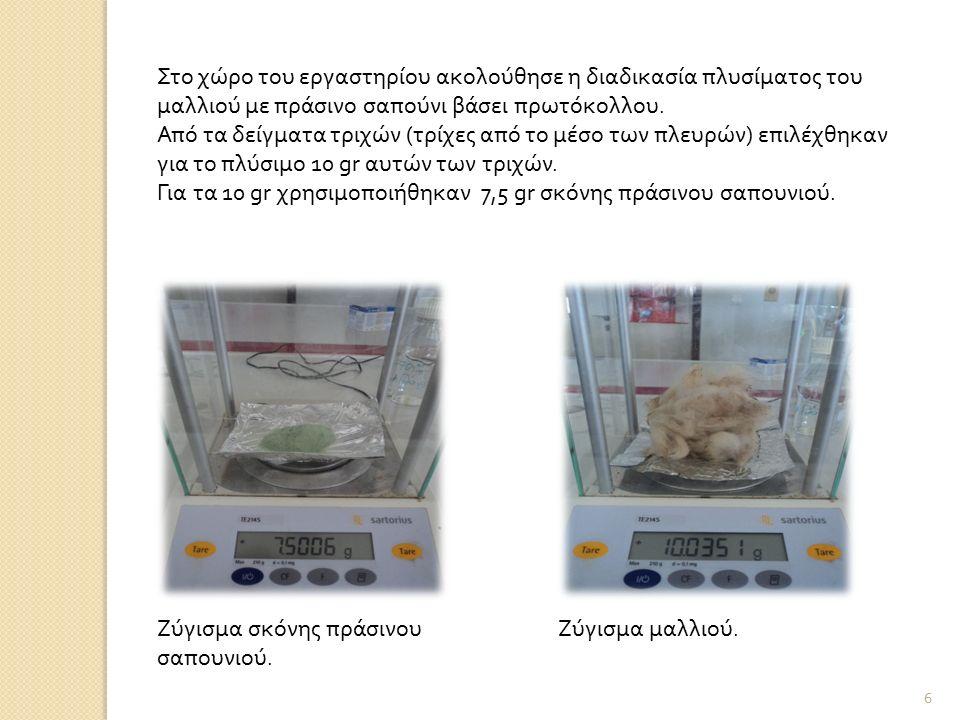 Στο χώρο του εργαστηρίου ακολούθησε η διαδικασία πλυσίματος του μαλλιού με πράσινο σαπούνι βάσει πρωτόκολλου. Από τα δείγματα τριχών (τρίχες από το μέ