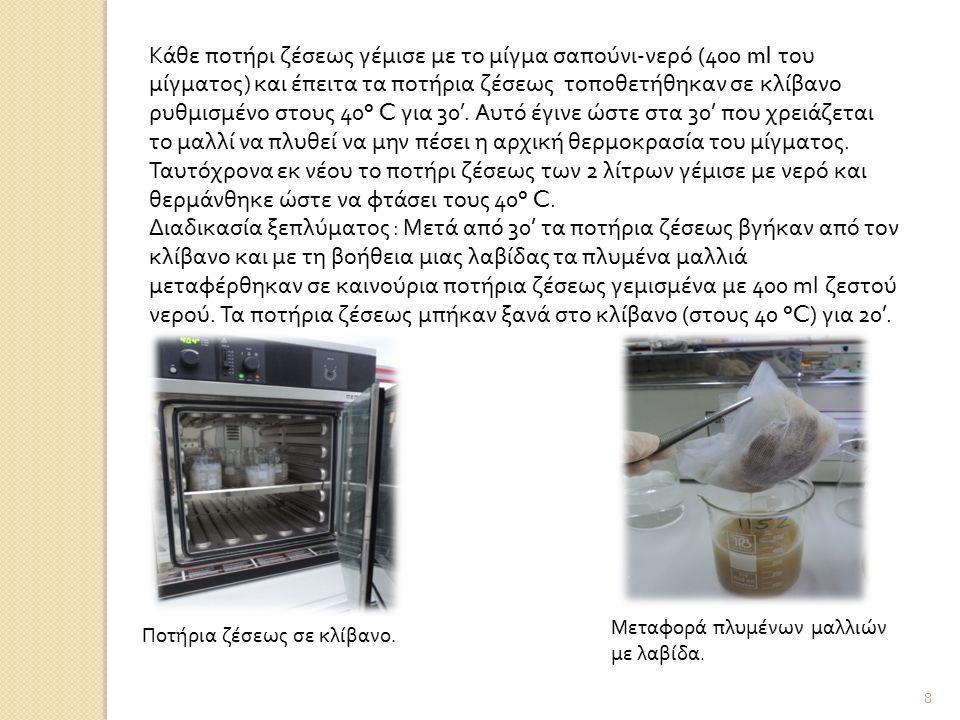 Κάθε ποτήρι ζέσεως γέμισε με το μίγμα σαπούνι-νερό (400 ml του μίγματος) και έπειτα τα ποτήρια ζέσεως τοποθετήθηκαν σε κλίβανο ρυθμισμένο στους 40° C για 30'.
