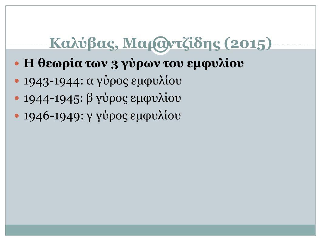 Καλύβας, Μαραντζίδης (2015) Η θεωρία των 3 γύρων του εμφυλίου 1943-1944: α γύρος εμφυλίου 1944-1945: β γύρος εμφυλίου 1946-1949: γ γύρος εμφυλίου