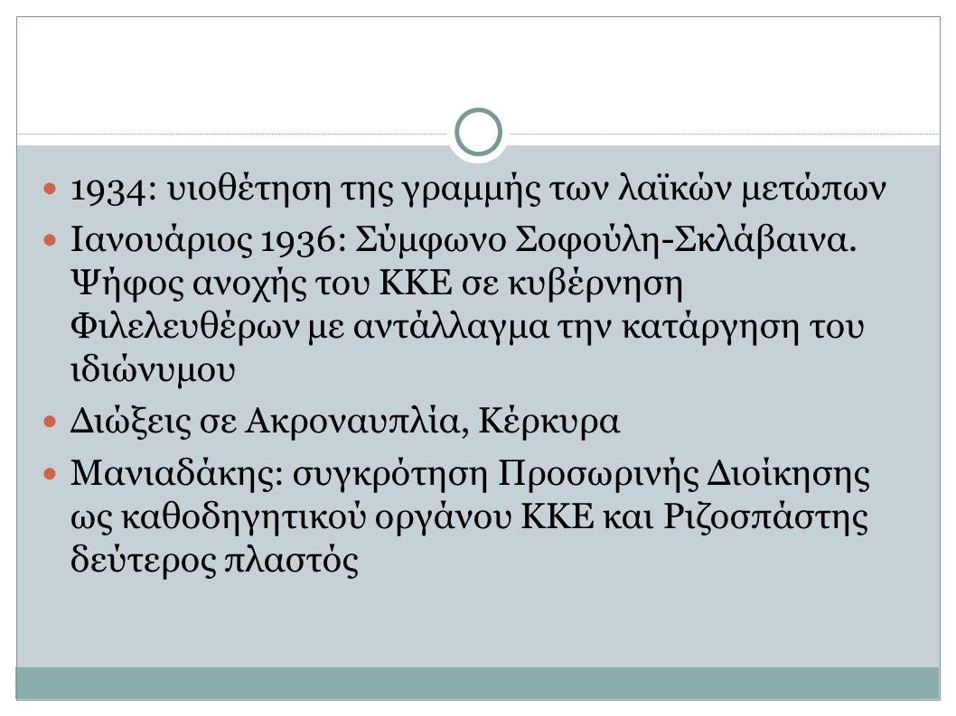 1934: υιοθέτηση της γραμμής των λαϊκών μετώπων Ιανουάριος 1936: Σύμφωνο Σοφούλη-Σκλάβαινα. Ψήφος ανοχής του ΚΚΕ σε κυβέρνηση Φιλελευθέρων με αντάλλαγμ