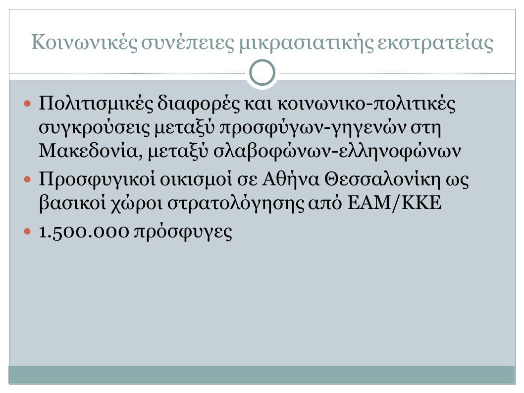 Κοινωνικές συνέπειες μικρασιατικής εκστρατείας Πολιτισμικές διαφορές και κοινωνικο-πολιτικές συγκρούσεις μεταξύ προσφύγων-γηγενών στη Μακεδονία, μεταξύ σλαβοφώνων-ελληνοφώνων Προσφυγικοί οικισμοί σε Αθήνα Θεσσαλονίκη ως βασικοί χώροι στρατολόγησης από ΕΑΜ/ΚΚΕ 1.500.000 πρόσφυγες