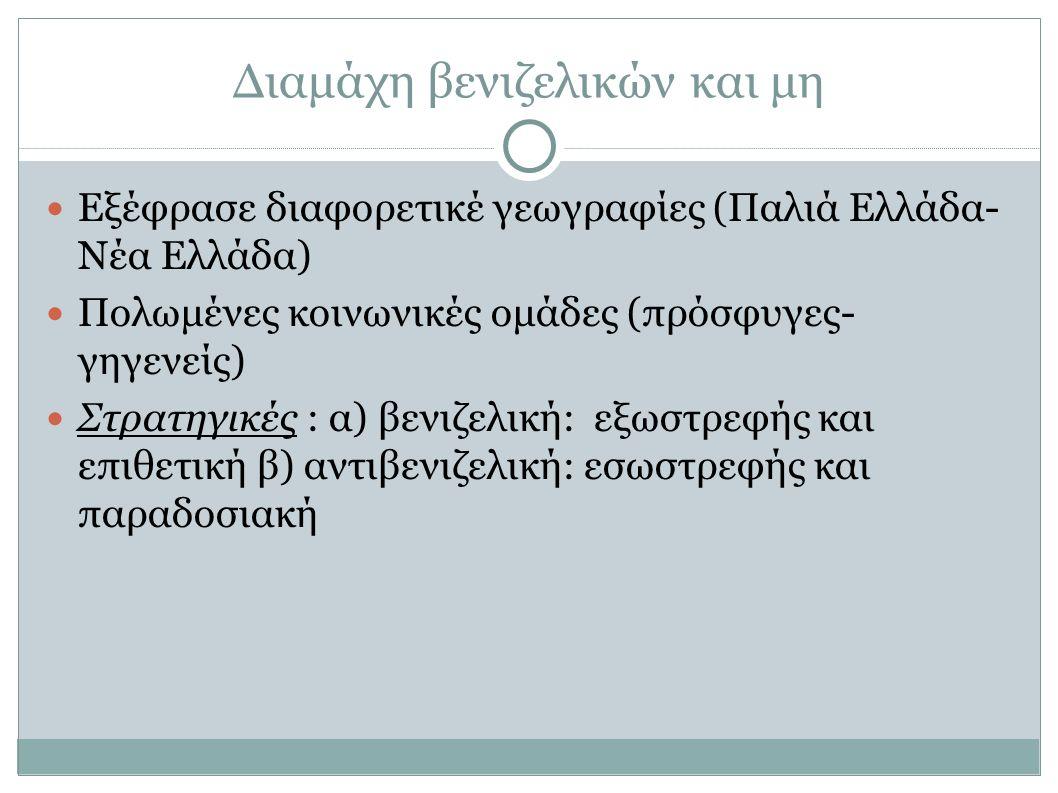 Διαμάχη βενιζελικών και μη Εξέφρασε διαφορετικέ γεωγραφίες (Παλιά Ελλάδα- Νέα Ελλάδα) Πολωμένες κοινωνικές ομάδες (πρόσφυγες- γηγενείς) Στρατηγικές : α) βενιζελική: εξωστρεφής και επιθετική β) αντιβενιζελική: εσωστρεφής και παραδοσιακή
