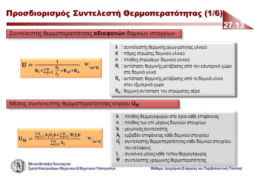 Εθνικό Μετσόβιο Πολυτεχνείο Σχολή Ηλεκτρολόγων Μηχανικών & Μηχανικών Υπολογιστών Μάθημα: Διαχείριση Ενέργειας και Περιβαλλοντική Πολιτική 27.13 Προσδιορισμός Συντελεστή Θερμοπερατότητας (1/6) Συντελεστής θερμοπερατότητας αδιαφανών δομικών στοιχείων Μέσος συντελεστής θερμοπερατότητας κτιρίου U M knbAjUjljΨknbAjUjljΨ knbAjUjljΨknbAjUjljΨ ::::: ::::::: ::: πλήθος θερμογεφυρών στα όρια κάθε επιφάνειας πλήθος των επί μέρους δομικών στοιχείων μειωτικός συντελεστής εμβαδόν επιφάνειας κάθε δομικού στοιχείου συντελεστής θερμοπερατότητας κάθε δομικού στοιχείου του κελύφους συνολικό μήκος κάθε τύπου θερμογέφυρας συντελεστής γραμμικής θερμοπερατότητας