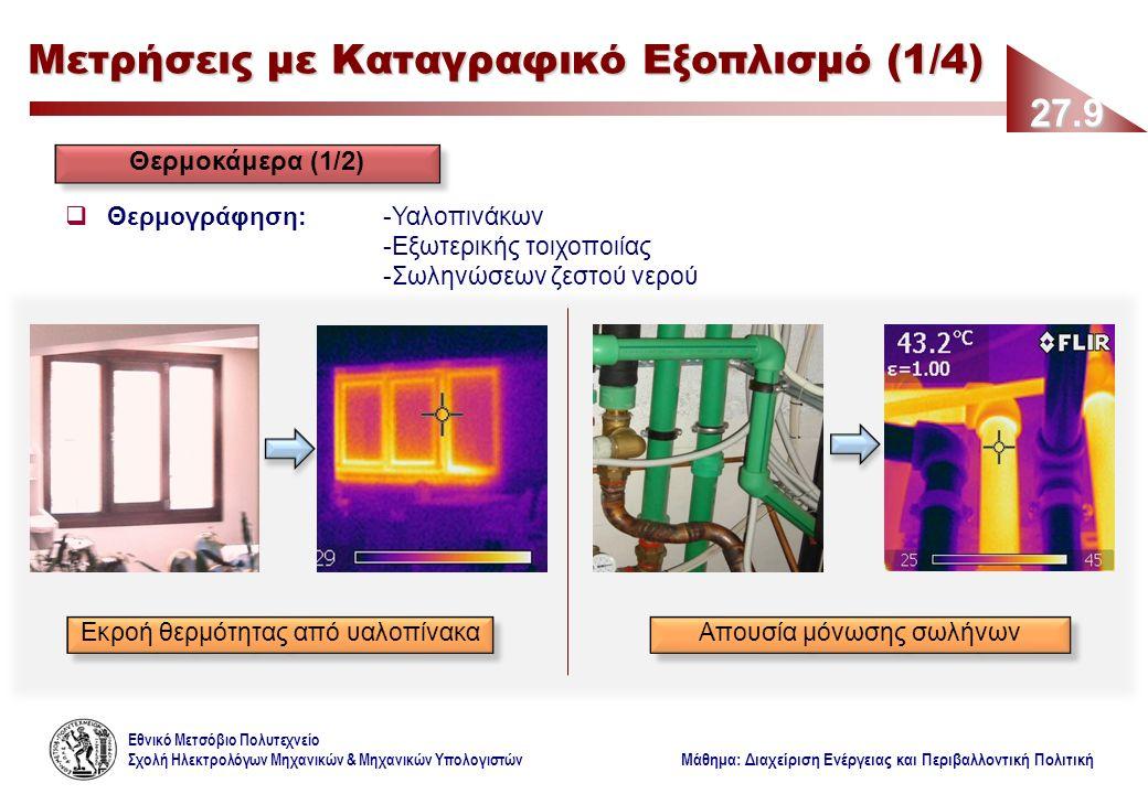 Εθνικό Μετσόβιο Πολυτεχνείο Σχολή Ηλεκτρολόγων Μηχανικών & Μηχανικών Υπολογιστών Μάθημα: Διαχείριση Ενέργειας και Περιβαλλοντική Πολιτική 27.9 Μετρήσεις με Καταγραφικό Εξοπλισμό (1/4) Θερμοκάμερα (1/2)  Θερμογράφηση: -Υαλοπινάκων -Εξωτερικής τοιχοποιίας -Σωληνώσεων ζεστού νερού Εκροή θερμότητας από υαλοπίνακα Απουσία μόνωσης σωλήνων