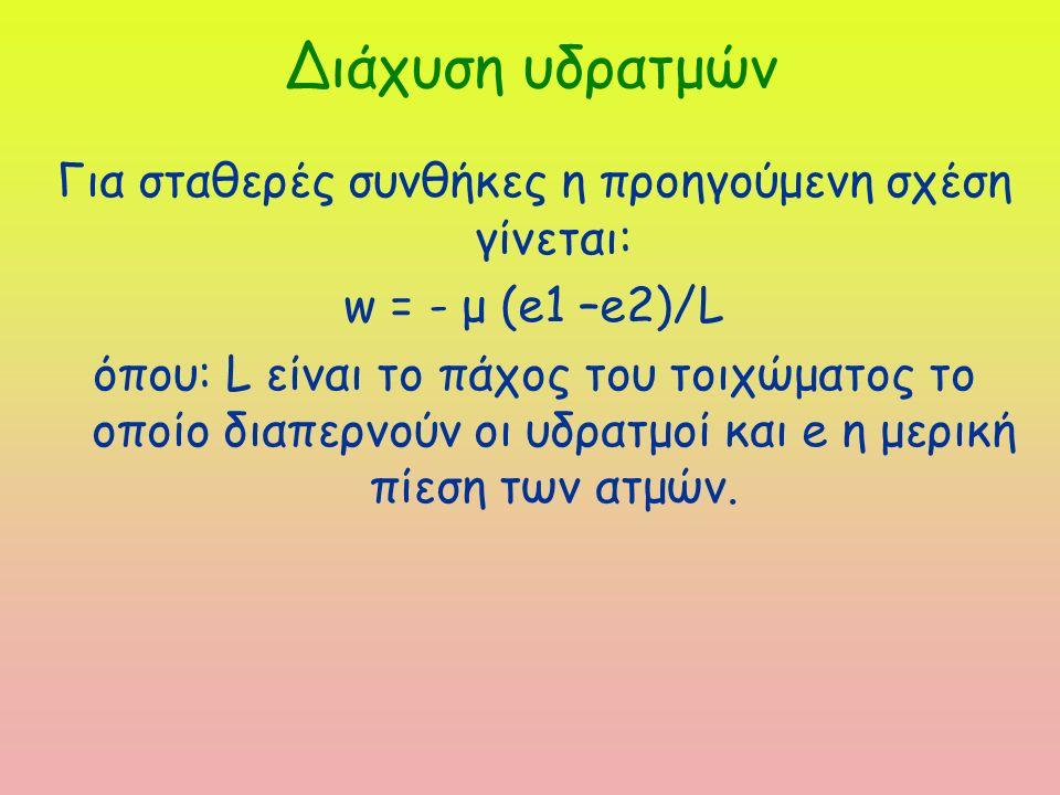 Διάχυση υδρατμών Για σταθερές συνθήκες η προηγούμενη σχέση γίνεται: w = - μ (e1 –e2)/L όπου: L είναι το πάχος του τοιχώματος το οποίο διαπερνούν οι υδρατμοί και e η μερική πίεση των ατμών.