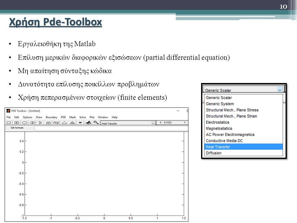 Χρήση Pde-Toolbox Εργαλειoθήκη της Matlab Επίλυση μερικών διαφορικών εξισώσεων (partial differential equation) Μη απαίτηση σύνταξης κώδικα Δυνατότητα