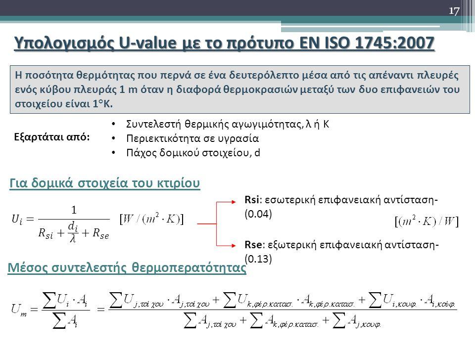Υπολογισμός U-value με το πρότυπο EN ISO 1745:2007 Η ποσότητα θερμότητας που περνά σε ένα δευτερόλεπτο μέσα από τις απέναντι πλευρές ενός κύβου πλευράς 1 m όταν η διαφορά θερμοκρασιών μεταξύ των δυο επιφανειών του στοιχείου είναι 1°Κ.