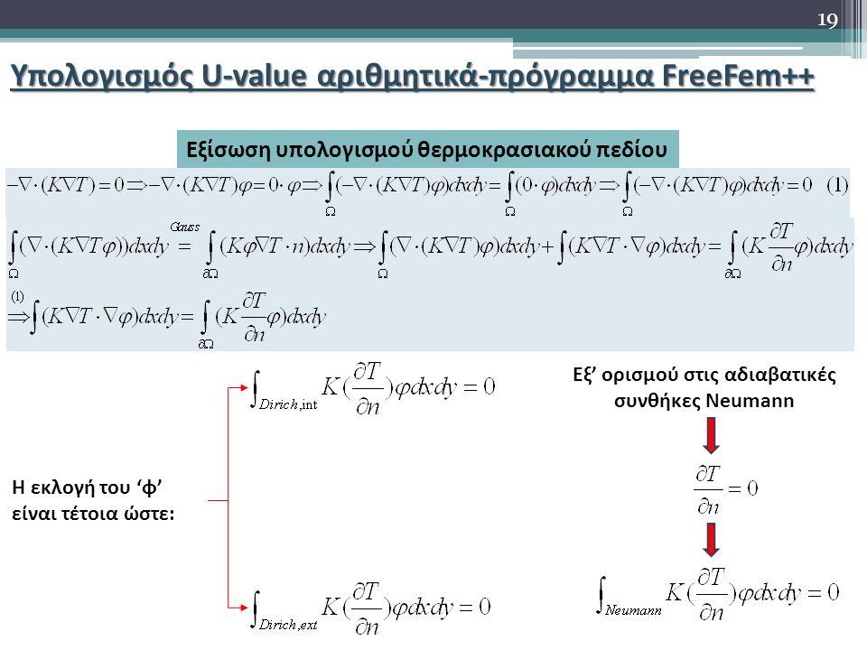 Υπολογισμός U-value αριθμητικά-πρόγραμμα FreeFem++ Εξίσωση υπολογισμού θερμοκρασιακού πεδίου Η εκλογή του 'φ' είναι τέτοια ώστε: Εξ' ορισμού στις αδια