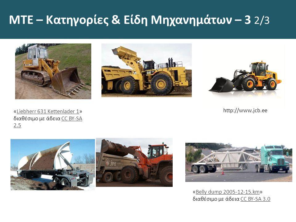 ΜΤΕ – Κατηγορίες & Είδη Μηχανημάτων – 3 2/3 «Liebherr 631 Kettenlader 1» διαθέσιμο με άδεια CC BY-SA 2.5Liebherr 631 Kettenlader 1CC BY-SA 2.5 http://www.jcb.ee «Belly dump 2005-12-15.km» διαθέσιμο με άδεια CC BY-SA 3.0Belly dump 2005-12-15.kmCC BY-SA 3.0