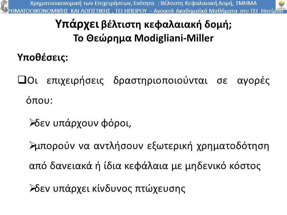Χρηματοοικονομική των Επιχειρήσεων, Ενότητα : Βέλτιστη Κεφαλαιακή Δομή, ΤΜΗΜΑ ΧΡΗΜΑΤΟΟΙΚΟΝΟΜΙΚΉΣ ΚΑΙ ΛΟΓΙΣΤΙΚΗΣ, ΤΕΙ ΗΠΕΙΡΟΥ – Ανοικτά Ακαδημαϊκά Μαθήματα στο ΤΕΙ Ηπείρου Θεώρημα Modigliani-Miller: Συνέπειες  Τα δανειακά κεφάλαια δεν δημιουργούν ούτε οφέλη ούτε κόστη.