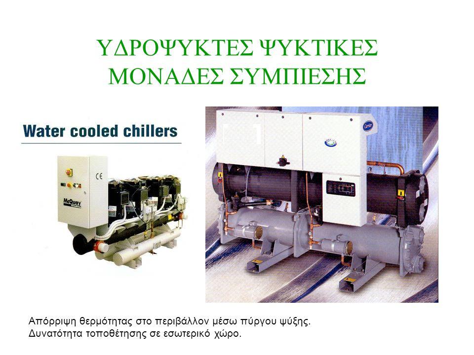 ΥΔΡΟΨΥΚΤΕΣ ΨΥΚΤΙΚΕΣ ΜΟΝΑΔΕΣ ΣΥΜΠΙΕΣΗΣ Απόρριψη θερμότητας στο περιβάλλον μέσω πύργου ψύξης.