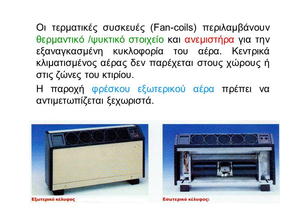 Οι τερματικές συσκευές (Fan-coils) περιλαμβάνουν θερμαντικό /ψυκτικό στοιχείο και ανεμιστήρα για την εξαναγκασμένη κυκλοφορία του αέρα.