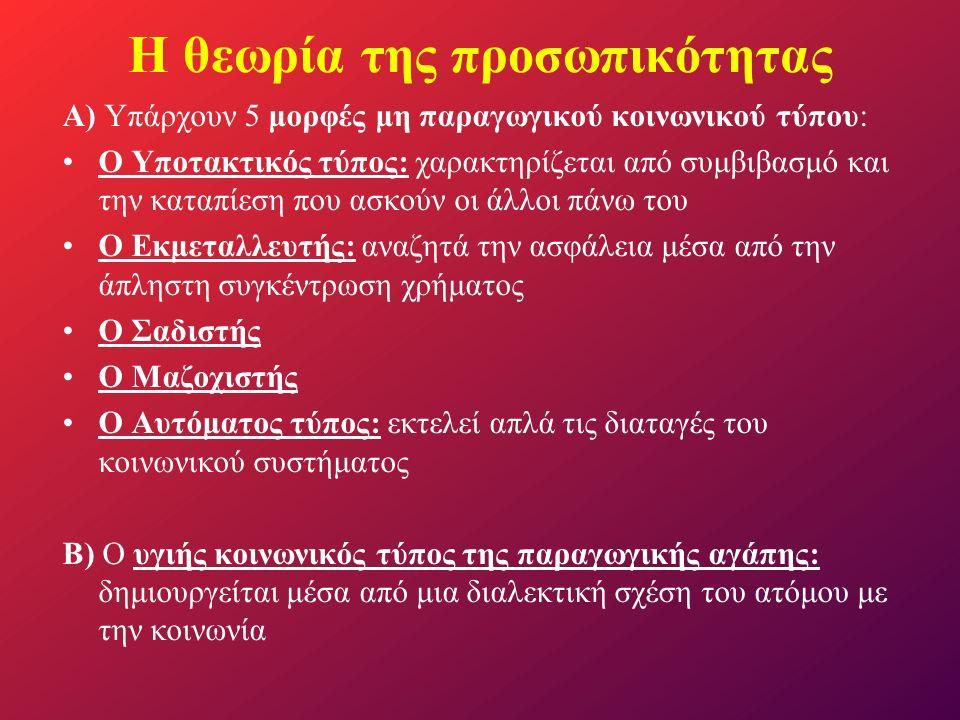Α) Υπάρχουν 5 μορφές μη παραγωγικού κοινωνικού τύπου: Ο Υποτακτικός τύπος: χαρακτηρίζεται από συμβιβασμό και την καταπίεση που ασκούν οι άλλοι πάνω το