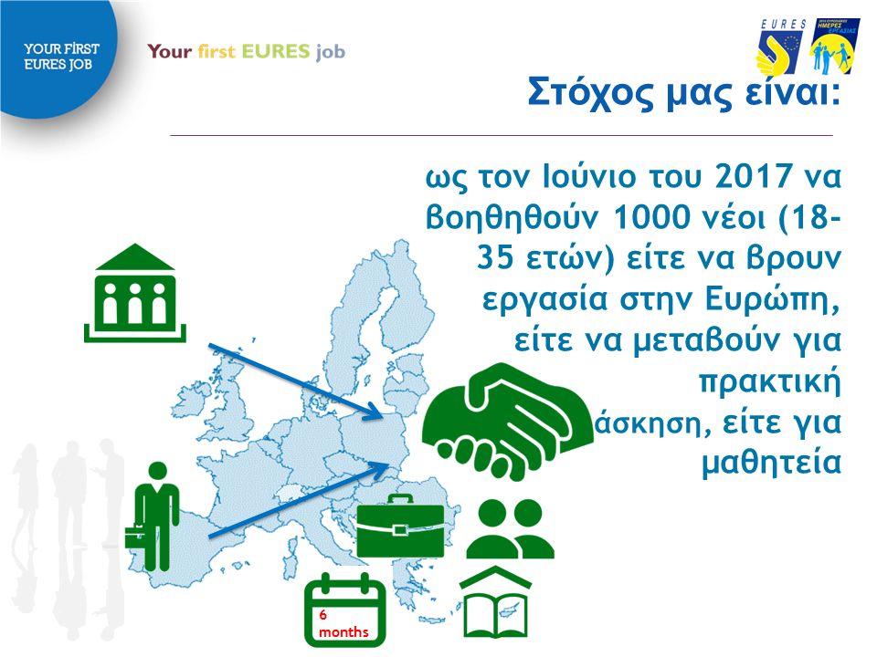 Στόχος μας είναι: ως τον Ιούνιο του 2017 να βοηθηθούν 1000 νέοι (18- 35 ετών) είτε να βρουν εργασία στην Ευρώπη, είτε να μεταβούν για πρακτική άσκηση, είτε για μαθητεία 6 months