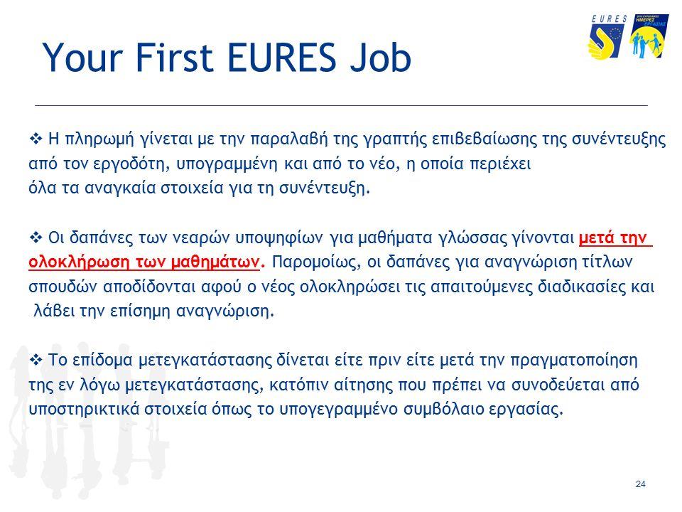 Your First EURES Job  Η πληρωμή γίνεται με την παραλαβή της γραπτής επιβεβαίωσης της συνέντευξης από τον εργοδότη, υπογραμμένη και από το νέο, η οποία περιέχει όλα τα αναγκαία στοιχεία για τη συνέντευξη.
