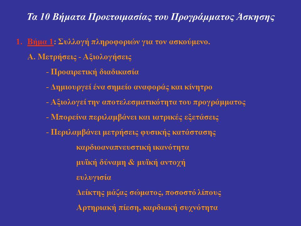 Τα 10 Βήματα Προετοιμασίας του Προγράμματος Άσκησης 1.Βήμα 1: Συλλογή πληροφοριών για τον ασκούμενο. Α. Μετρήσεις - Αξιολογήσεις - Προαιρετική διαδικα