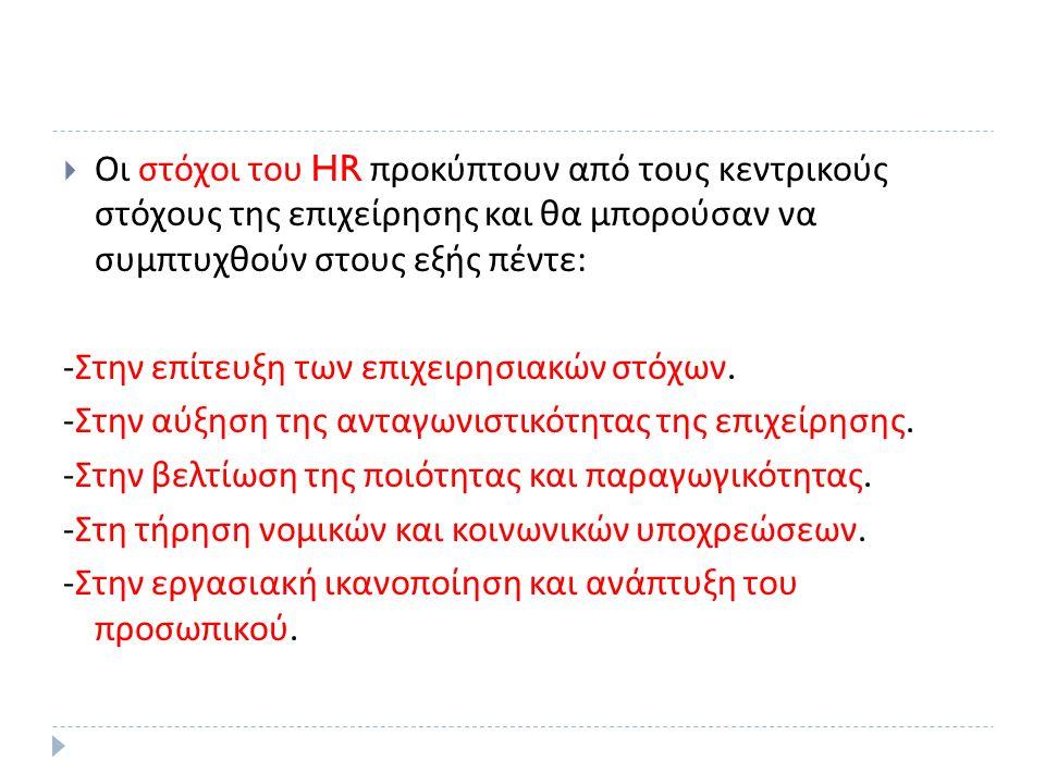  Οι στόχοι του HR προκύπτουν από τους κεντρικούς στόχους της επιχείρησης και θα μπορούσαν να συμπτυχθούν στους εξής πέντε : - Στην επίτευξη των επιχειρησιακών στόχων.