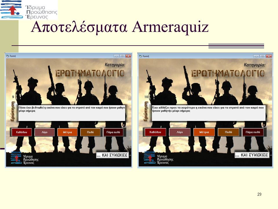 Αποτελέσματα Armeraquiz 29