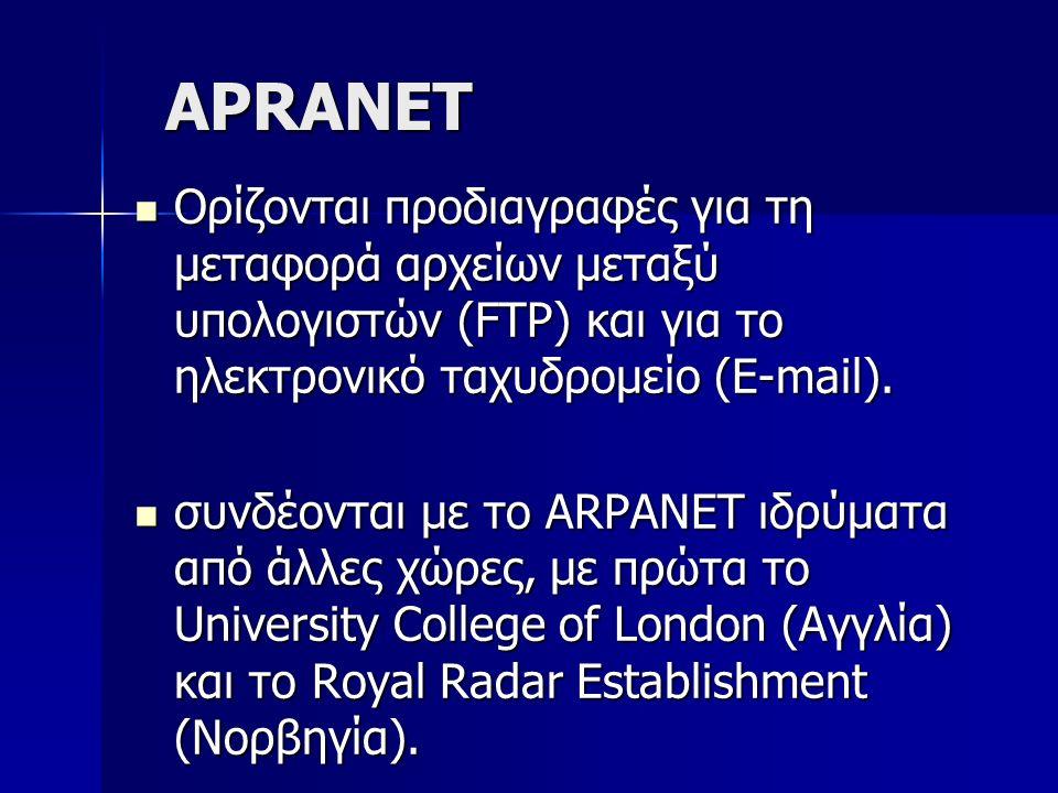 APRANET Ορίζονται προδιαγραφές για τη μεταφορά αρχείων μεταξύ υπολογιστών (FTP) και για το ηλεκτρονικό ταχυδρομείο (E-mail). Ορίζονται προδιαγραφές γι