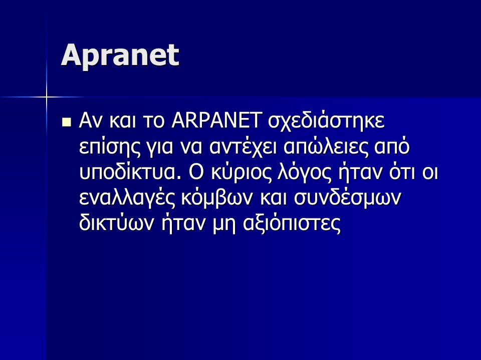 Apranet Αν και το ARPANET σχεδιάστηκε επίσης για να αντέχει απώλειες από υποδίκτυα. Ο κύριος λόγος ήταν ότι οι εναλλαγές κόμβων και συνδέσμων δικτύων