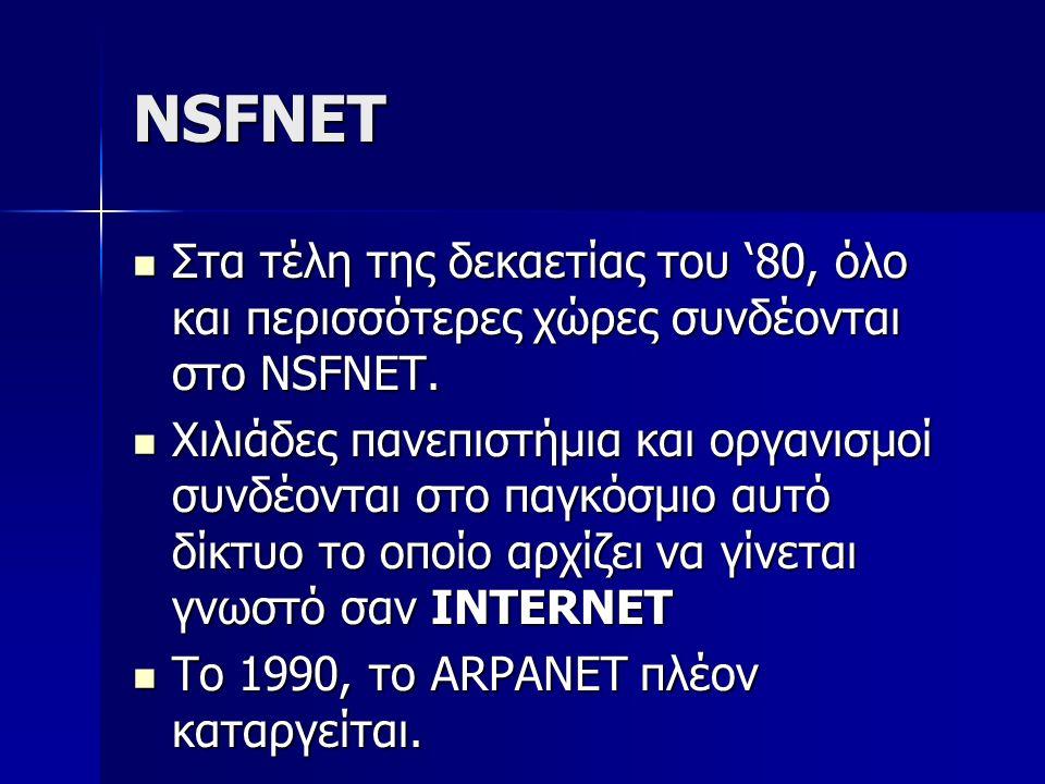NSFNET Στα τέλη της δεκαετίας του '80, όλο και περισσότερες χώρες συνδέονται στο NSFNET. Στα τέλη της δεκαετίας του '80, όλο και περισσότερες χώρες συ