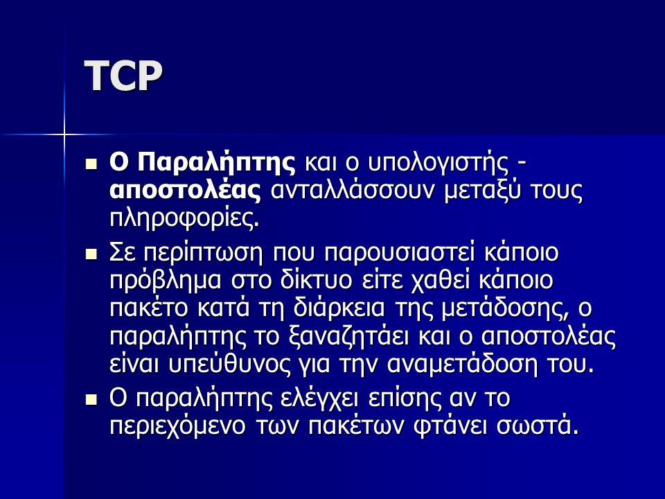 TCP Ο Παραλήπτης και ο υπολογιστής - αποστολέας ανταλλάσσουν μεταξύ τους πληροφορίες. Ο Παραλήπτης και ο υπολογιστής - αποστολέας ανταλλάσσουν μεταξύ