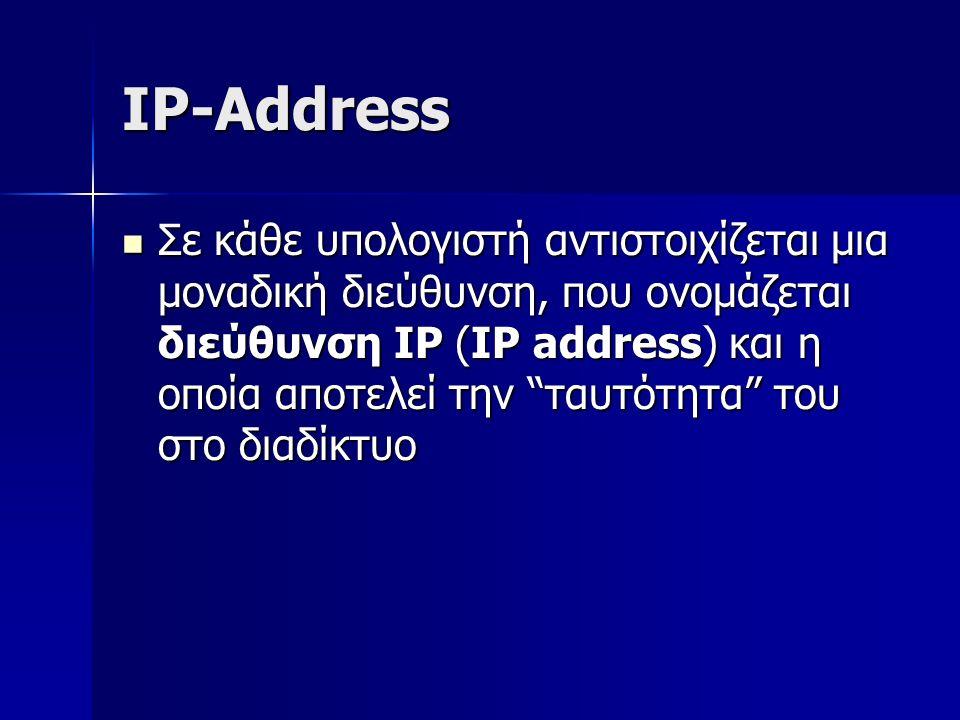 IP-Address Σε κάθε υπολογιστή αντιστοιχίζεται μια μοναδική διεύθυνση, που ονομάζεται διεύθυνση IP (IP address) και η οποία αποτελεί την ταυτότητα του στο διαδίκτυο Σε κάθε υπολογιστή αντιστοιχίζεται μια μοναδική διεύθυνση, που ονομάζεται διεύθυνση IP (IP address) και η οποία αποτελεί την ταυτότητα του στο διαδίκτυο