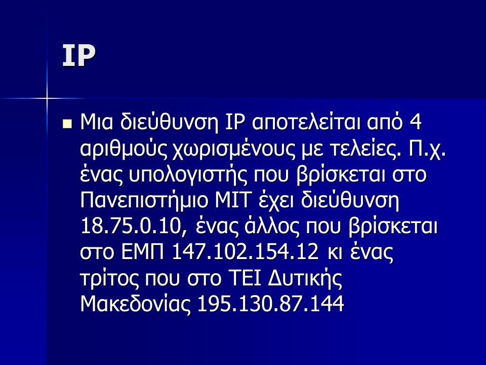 IP Μια διεύθυνση IP αποτελείται από 4 αριθμούς χωρισμένους με τελείες. Π.χ. ένας υπολογιστής που βρίσκεται στο Πανεπιστήμιο ΜΙΤ έχει διεύθυνση 18.75.0