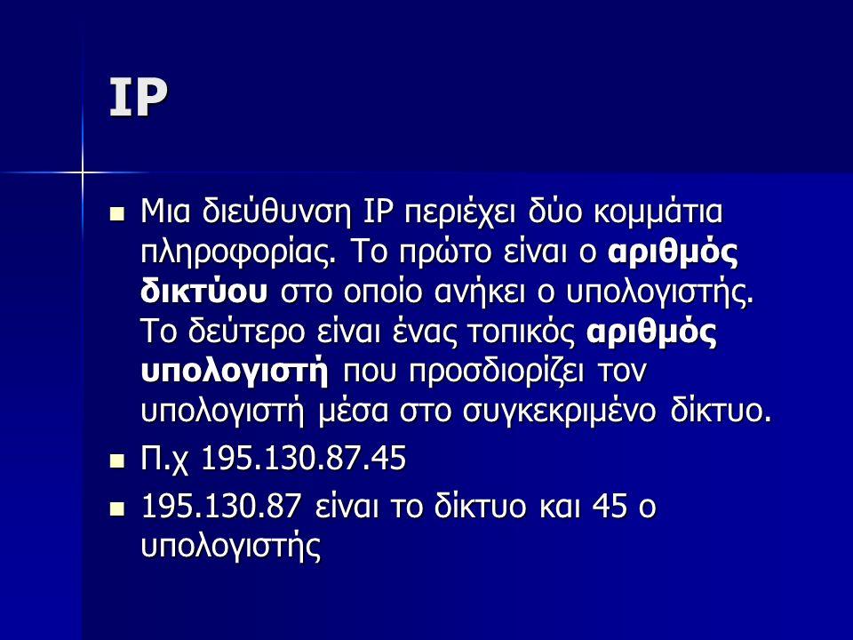 IP Μια διεύθυνση IP περιέχει δύο κομμάτια πληροφορίας. Το πρώτο είναι ο αριθμός δικτύου στο οποίο ανήκει ο υπολογιστής. Το δεύτερο είναι ένας τοπικός