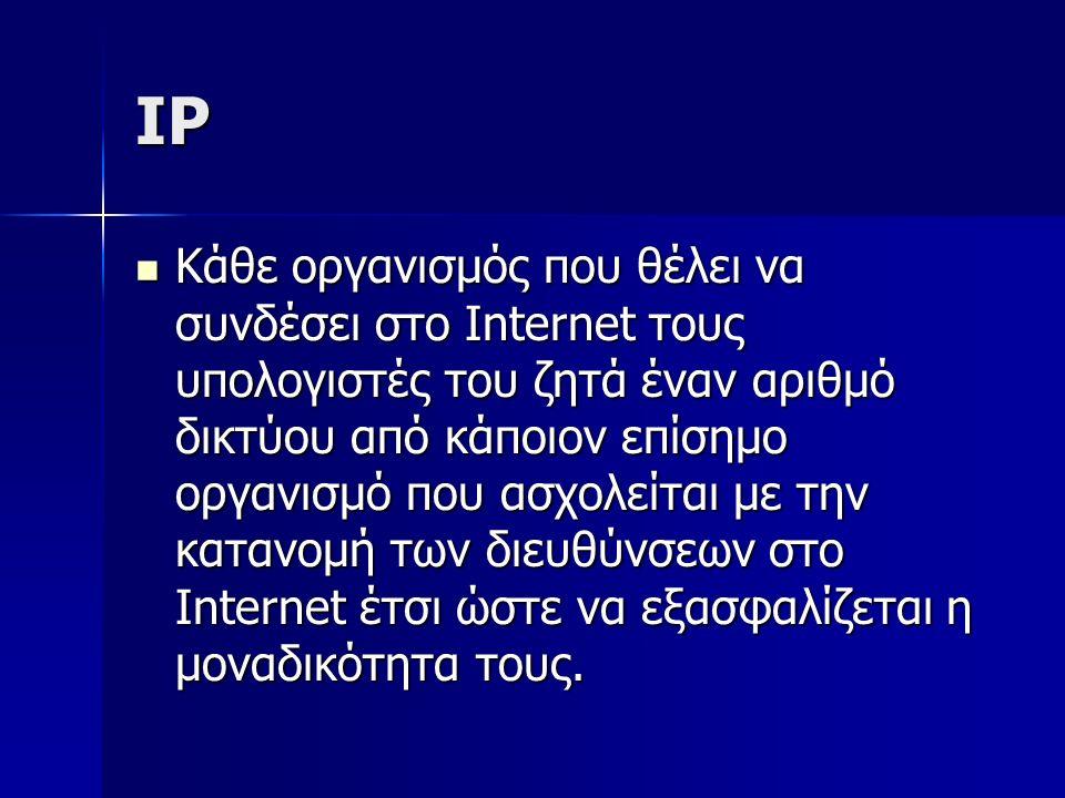IP Κάθε οργανισμός που θέλει να συνδέσει στο Internet τους υπολογιστές του ζητά έναν αριθμό δικτύου από κάποιον επίσημο οργανισμό που ασχολείται με την κατανομή των διευθύνσεων στο Internet έτσι ώστε να εξασφαλίζεται η μοναδικότητα τους.