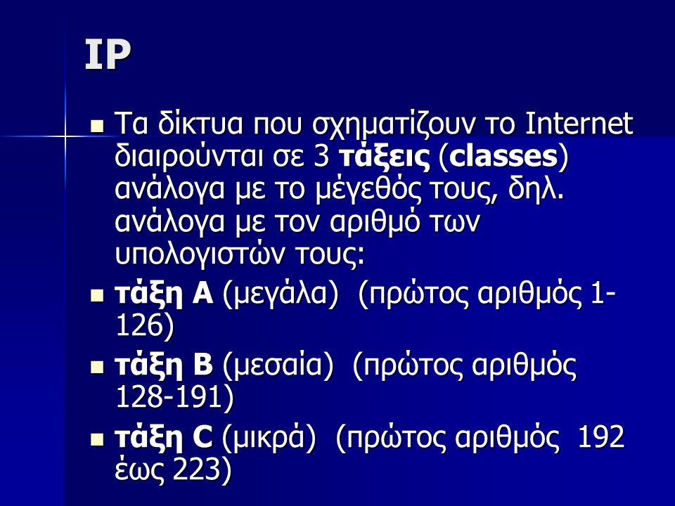 IP Τα δίκτυα που σχηματίζουν το Internet διαιρούνται σε 3 τάξεις (classes) ανάλογα με το μέγεθός τους, δηλ. ανάλογα με τον αριθμό των υπολογιστών τους