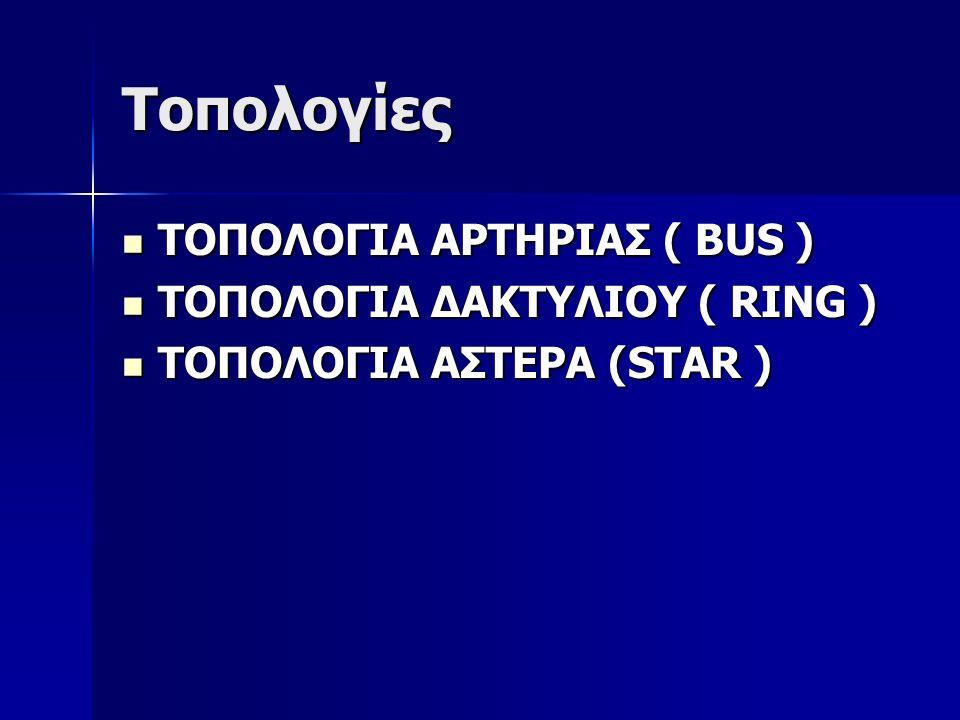 Τοπολογίες ΤΟΠΟΛΟΓΙΑ ΑΡΤΗΡΙΑΣ ( BUS ) ΤΟΠΟΛΟΓΙΑ ΑΡΤΗΡΙΑΣ ( BUS ) ΤΟΠΟΛΟΓΙΑ ΔΑΚΤΥΛΙΟΥ ( RING ) ΤΟΠΟΛΟΓΙΑ ΔΑΚΤΥΛΙΟΥ ( RING ) ΤΟΠΟΛΟΓΙΑ ΑΣΤΕΡΑ (STAR ) ΤΟΠΟΛΟΓΙΑ ΑΣΤΕΡΑ (STAR )