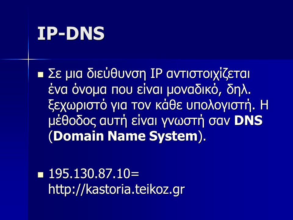 IP-DNS Σε μια διεύθυνση IP αντιστοιχίζεται ένα όνομα που είναι μοναδικό, δηλ. ξεχωριστό για τον κάθε υπολογιστή. Η μέθοδος αυτή είναι γνωστή σαν DNS (