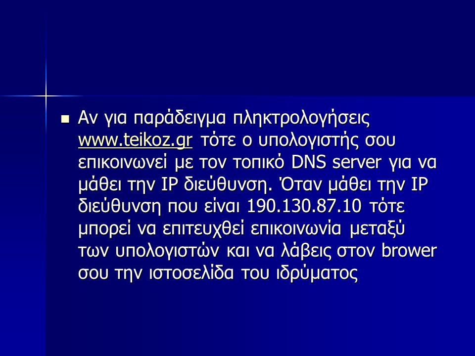 Αν για παράδειγμα πληκτρολογήσεις www.teikoz.gr τότε ο υπολογιστής σου επικοινωνεί με τον τοπικό DNS server για να μάθει την IP διεύθυνση. Όταν μάθει
