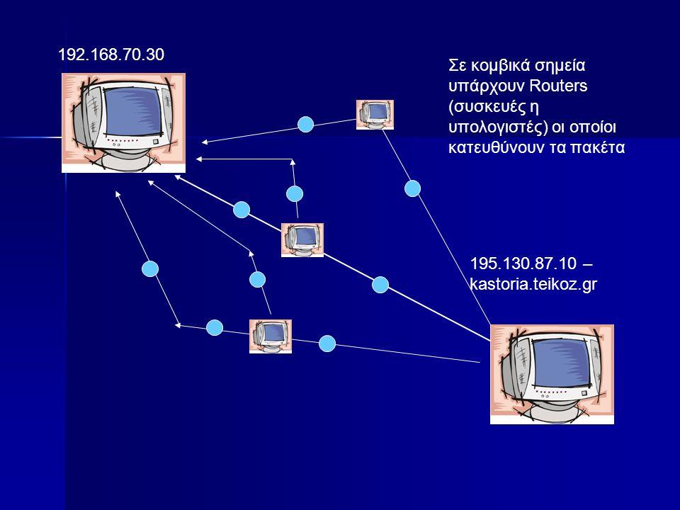192.168.70.30 195.130.87.10 – kastoria.teikoz.gr Σε κομβικά σημεία υπάρχουν Routers (συσκευές η υπολογιστές) οι οποίοι κατευθύνουν τα πακέτα