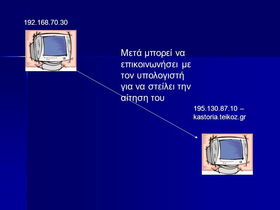192.168.70.30 195.130.87.10 – kastoria.teikoz.gr Μετά μπορεί να επικοινωνήσει με τον υπολογιστή για να στείλει την αίτηση του