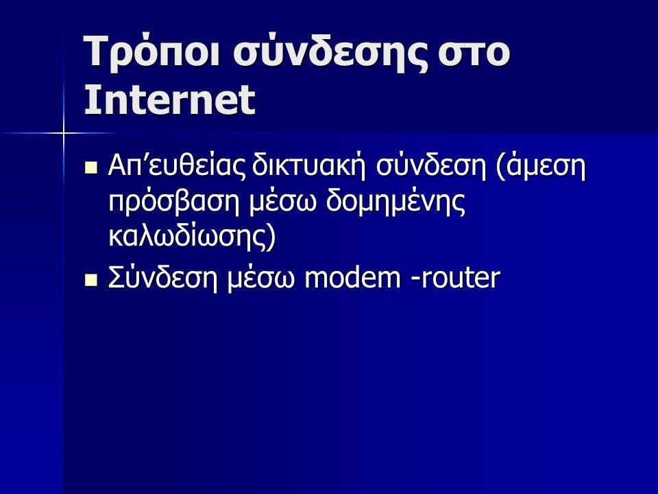 Τρόποι σύνδεσης στο Internet Απ'ευθείας δικτυακή σύνδεση (άμεση πρόσβαση μέσω δομημένης καλωδίωσης) Απ'ευθείας δικτυακή σύνδεση (άμεση πρόσβαση μέσω δομημένης καλωδίωσης) Σύνδεση μέσω modem -router Σύνδεση μέσω modem -router