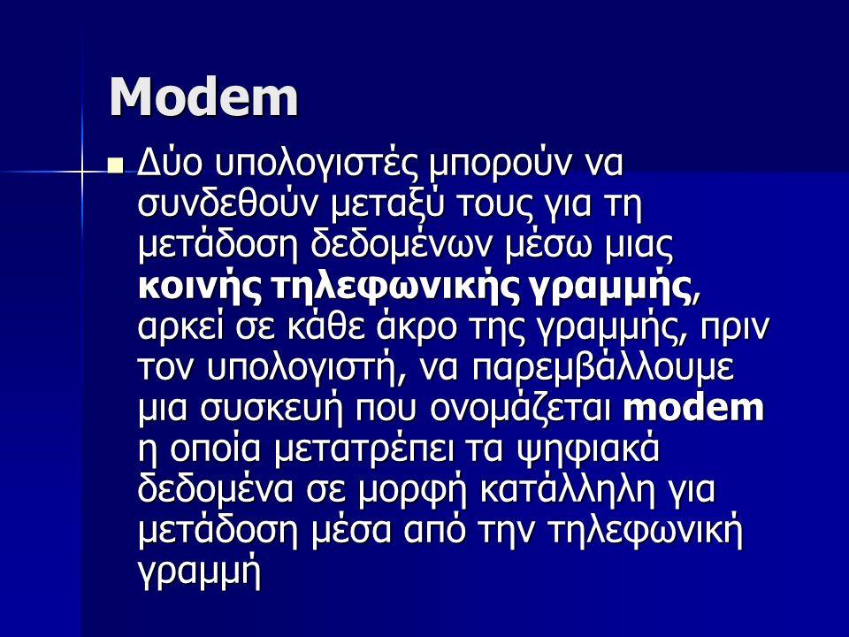 Modem Δύο υπολογιστές μπορούν να συνδεθούν μεταξύ τους για τη μετάδοση δεδομένων μέσω μιας κοινής τηλεφωνικής γραμμής, αρκεί σε κάθε άκρο της γραμμής,