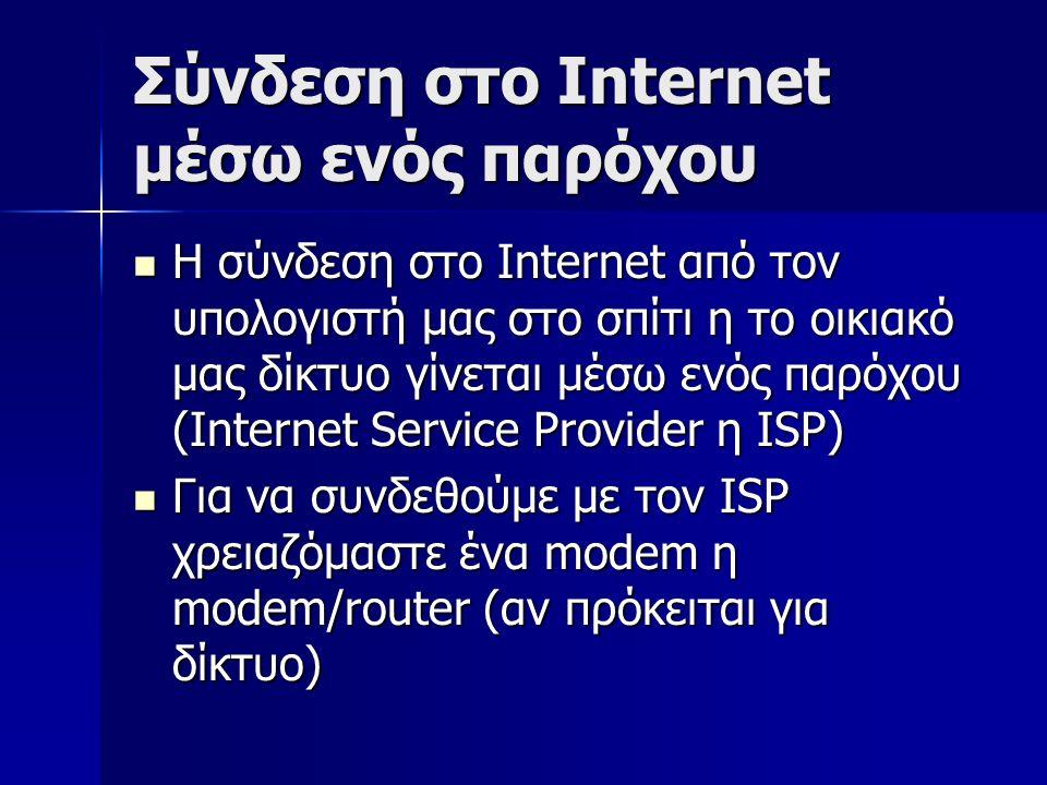 Σύνδεση στο Internet μέσω ενός παρόχου Η σύνδεση στο Internet από τον υπολογιστή μας στο σπίτι η το οικιακό μας δίκτυο γίνεται μέσω ενός παρόχου (Internet Service Provider η ISP) Η σύνδεση στο Internet από τον υπολογιστή μας στο σπίτι η το οικιακό μας δίκτυο γίνεται μέσω ενός παρόχου (Internet Service Provider η ISP) Για να συνδεθούμε με τον ISP χρειαζόμαστε ένα modem η modem/router (αν πρόκειται για δίκτυο) Για να συνδεθούμε με τον ISP χρειαζόμαστε ένα modem η modem/router (αν πρόκειται για δίκτυο)