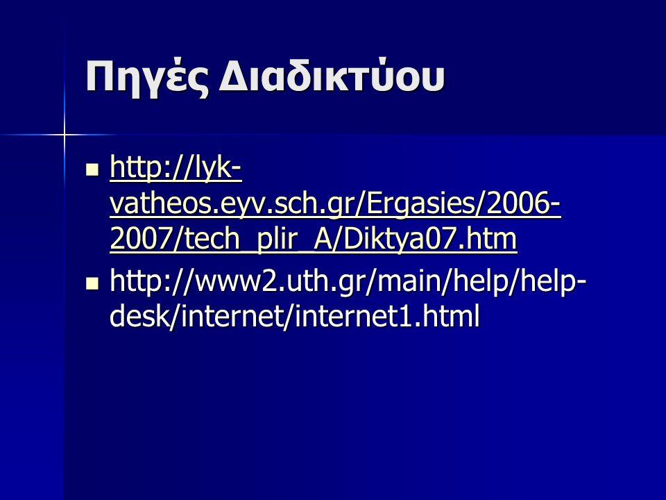 Πηγές Διαδικτύου http://lyk- vatheos.eyv.sch.gr/Ergasies/2006- 2007/tech_plir_A/Diktya07.htm http://lyk- vatheos.eyv.sch.gr/Ergasies/2006- 2007/tech_plir_A/Diktya07.htm http://lyk- vatheos.eyv.sch.gr/Ergasies/2006- 2007/tech_plir_A/Diktya07.htm http://lyk- vatheos.eyv.sch.gr/Ergasies/2006- 2007/tech_plir_A/Diktya07.htm http://www2.uth.gr/main/help/help- desk/internet/internet1.html http://www2.uth.gr/main/help/help- desk/internet/internet1.html