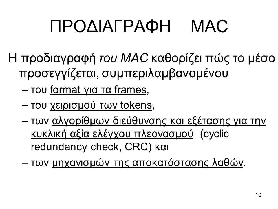 10 ΠΡΟΔΙΑΓΡΑΦΗ MAC Η προδιαγραφή του MAC καθορίζει πώς το μέσο προσεγγίζεται, συμπεριλαμβανομένου –του format για τα frames, –του χειρισμού των tokens, –των αλγορίθμων διεύθυνσης και εξέτασης για την κυκλική αξία ελέγχου πλεονασμού (cyclic redundancy check, CRC) και –των μηχανισμών της αποκατάστασης λαθών.