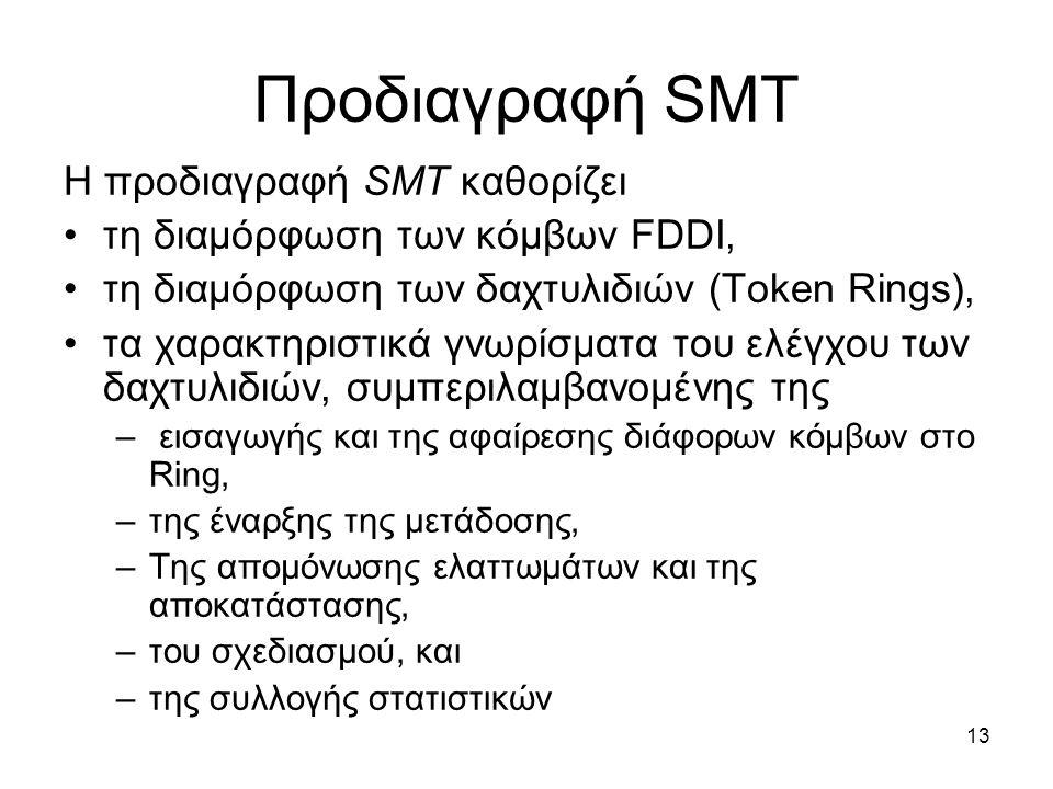 13 Προδιαγραφή SMT Η προδιαγραφή SMT καθορίζει τη διαμόρφωση των κόμβων FDDI, τη διαμόρφωση των δαχτυλιδιών (Token Rings), τα χαρακτηριστικά γνωρίσματα του ελέγχου των δαχτυλιδιών, συμπεριλαμβανομένης της – εισαγωγής και της αφαίρεσης διάφορων κόμβων στο Ring, –της έναρξης της μετάδοσης, –Της απομόνωσης ελαττωμάτων και της αποκατάστασης, –του σχεδιασμού, και –της συλλογής στατιστικών