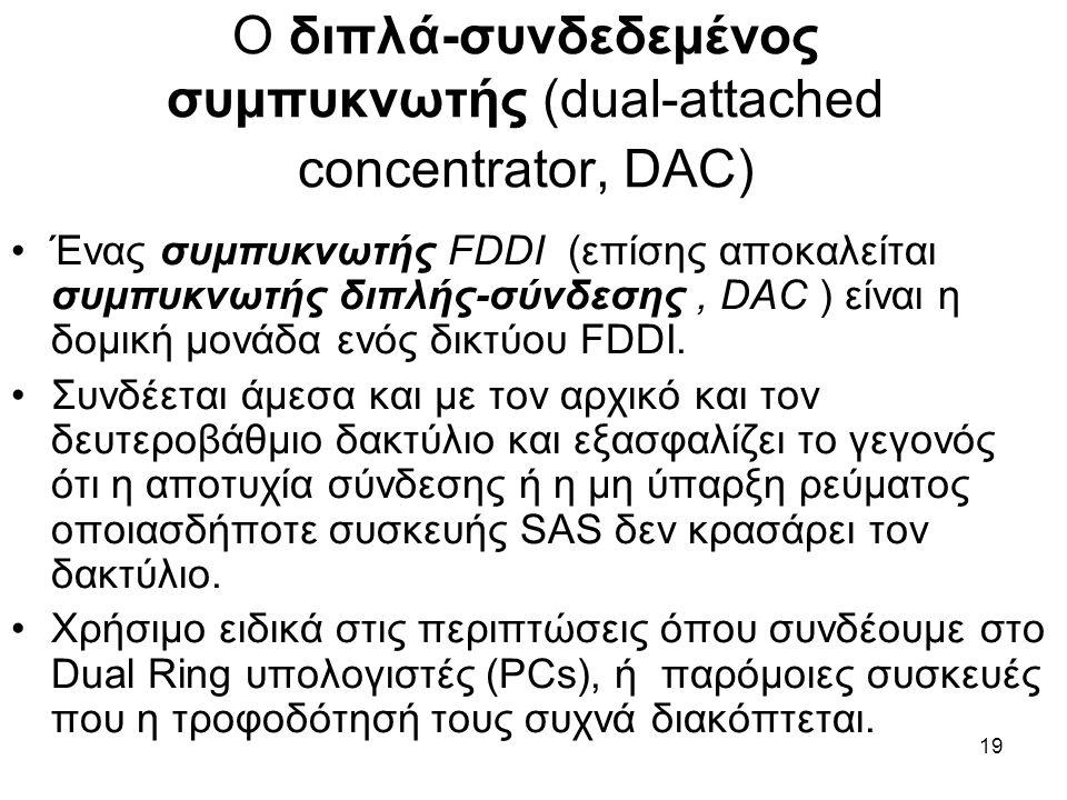 19 Ο διπλά-συνδεδεμένος συμπυκνωτής (dual-attached concentrator, DAC) Ένας συμπυκνωτής FDDI (επίσης αποκαλείται συμπυκνωτής διπλής-σύνδεσης, DAC ) είναι η δομική μονάδα ενός δικτύου FDDI.