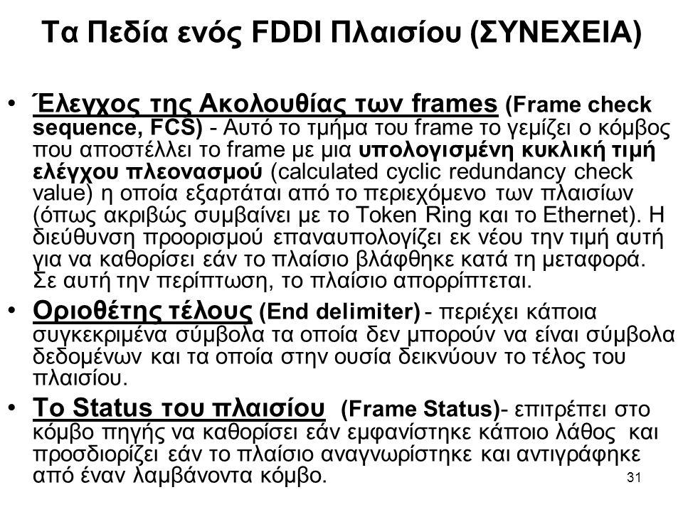 31 Τα Πεδία ενός FDDI Πλαισίου (ΣΥΝΕΧΕΙΑ) Έλεγχος της Ακολουθίας των frames (Frame check sequence, FCS) - Αυτό το τμήμα του frame το γεμίζει ο κόμβος που αποστέλλει το frame με μια υπολογισμένη κυκλική τιμή ελέγχου πλεονασμού (calculated cyclic redundancy check value) η οποία εξαρτάται από το περιεχόμενο των πλαισίων (όπως ακριβώς συμβαίνει με το Token Ring και το Ethernet).