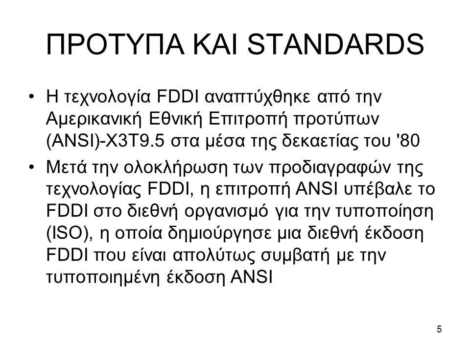 5 ΠΡΟΤΥΠΑ ΚΑΙ STANDARDS Η τεχνολογία FDDI αναπτύχθηκε από την Αμερικανική Εθνική Επιτροπή προτύπων (ANSI)-X3T9.5 στα μέσα της δεκαετίας του 80 Μετά την ολοκλήρωση των προδιαγραφών της τεχνολογίας FDDI, η επιτροπή ANSI υπέβαλε το FDDI στο διεθνή οργανισμό για την τυποποίηση (ISO), η οποία δημιούργησε μια διεθνή έκδοση FDDI που είναι απολύτως συμβατή με την τυποποιημένη έκδοση ANSI