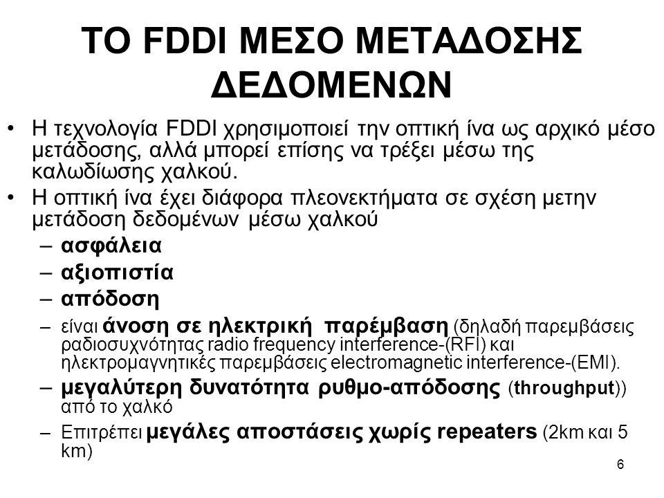 6 ΤΟ FDDI ΜΕΣΟ ΜΕΤΑΔΟΣΗΣ ΔΕΔΟΜΕΝΩΝ Η τεχνολογία FDDI χρησιμοποιεί την οπτική ίνα ως αρχικό μέσο μετάδοσης, αλλά μπορεί επίσης να τρέξει μέσω της καλωδίωσης χαλκού.