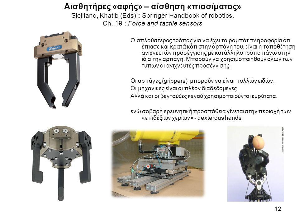 Αισθητήρες «αφής» – αίσθηση «πιασίματος» Siciliano, Khatib (Eds) : Springer Handbook of robotics, Ch. 19 : Force and tactile sensors 12 O απλούστερος